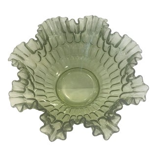 Fenton Olive Green Decorative Center Bowl For Sale