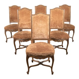 French Louis XV Style Carved Dining Side Chairs - Set of 6 For Sale