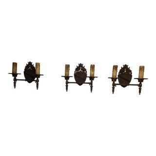 1930s Set of 3 Art Nouveau Electrified Wall Sconces - Set of 3 For Sale