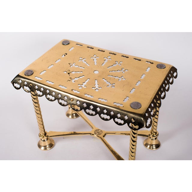 Late 19th Century 19th Century Antique Brass Fireplace Rectangular Kettle Trivet W/ Crossbars, Bell Shaped Feet, Pierced Top & Sides For Sale - Image 5 of 10