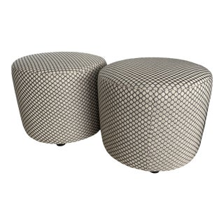Italian Beige Upholstered Ottomans - A Pair For Sale