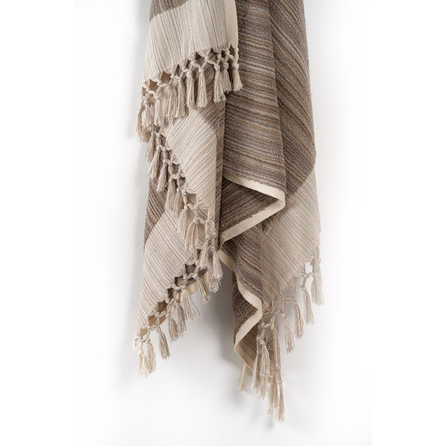 Earth Lines Handmade Organic Cotton Ultra King Bath Towel in Tan For Sale - Image 4 of 10