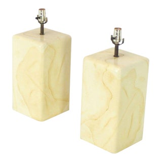 Pair of Faux Parchment Goatskin Table Lamps For Sale