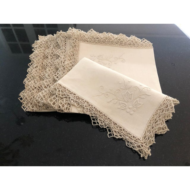 Vintage Italian Linen Napkins Hand-Embroidered Reticella - Set of 12 For Sale - Image 13 of 13