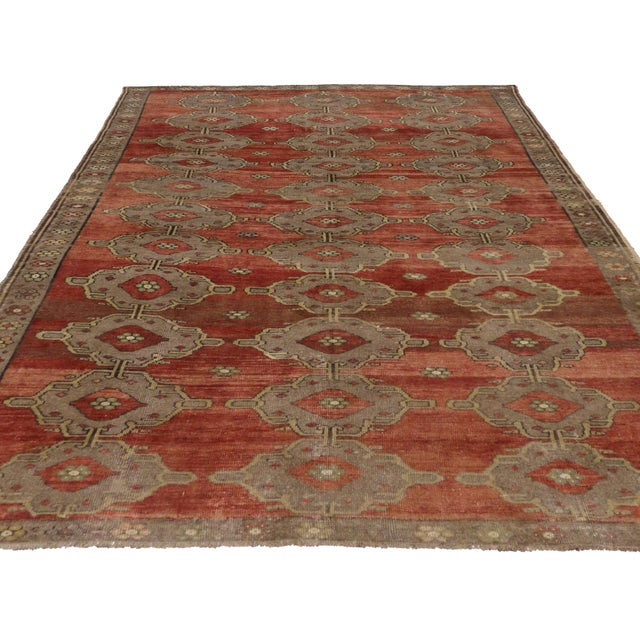 Modern Traditional Vintage Turkish Oushak Rug With Jacobean Style, 07'06 X 11'04 For Sale - Image 4 of 10