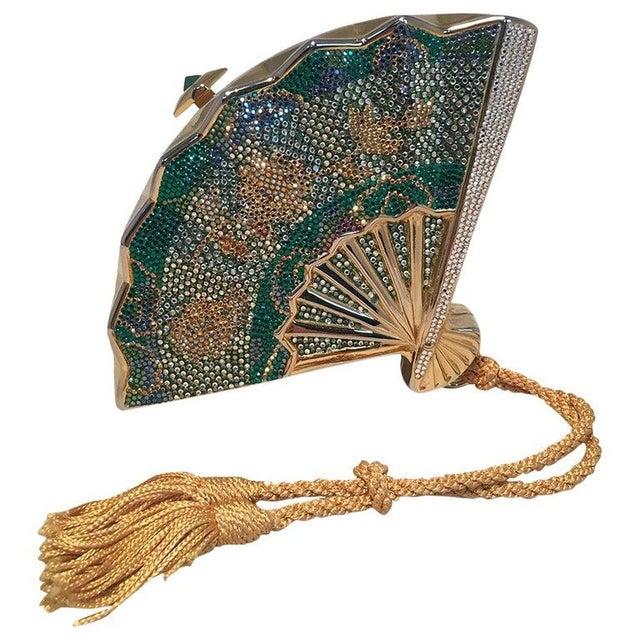 Green Judith Leiber Swarovski Crystal Fan Minaudiere Evening Bag Clutch Wristlet For Sale - Image 8 of 8
