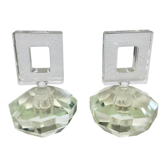 Hand Cut Crystal Perfume Bottles – a Pair For Sale