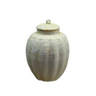 Chinese Handmade Ceramic Cream White Floral Motif Jar For Sale