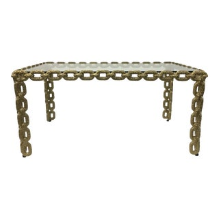 Currey & Co. Modern Champagne Gold Chain Link Cocktail Table For Sale