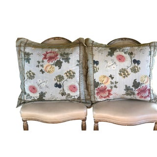 Traditional Scalamandre Embroidered Silk Decorative Throw Pillows - a Pair For Sale
