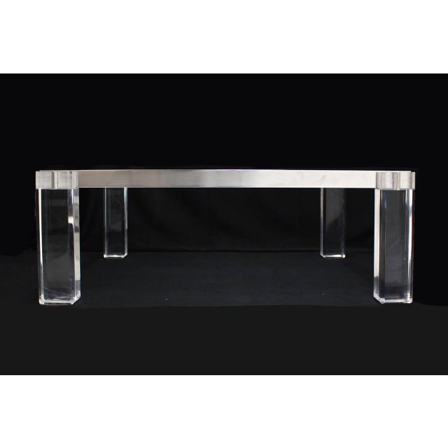 Transparent Vintage Mid Century Lucite Base Large Square Coffee Table For Sale - Image 8 of 9