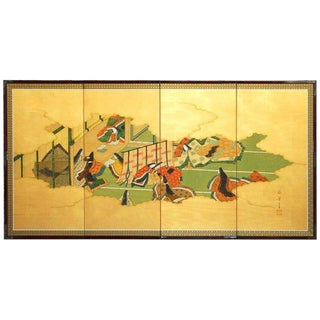"Japanese Four-Panel ""Tales of Genji"" Folding Screen For Sale"