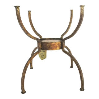 Vintage Casa Bique Hand Forged Iron Plant Stand with Amber Glass For Sale