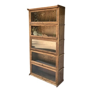 Vintage Oak Lawyer's Barrister Bookcase For Sale