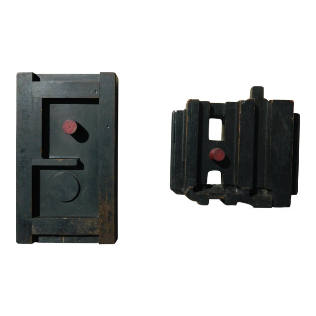 Industrial Wall-Hanging Wooden Sculptures - A Pair For Sale
