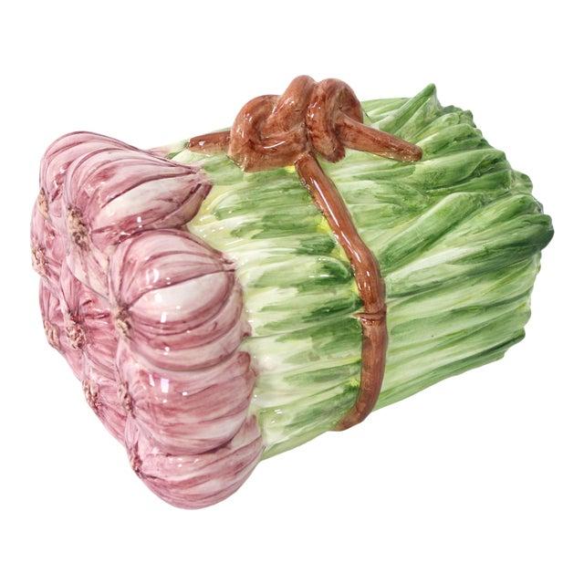 Italian Majolica Shallot/Spring Onion Bundle-Shaped Box For Sale