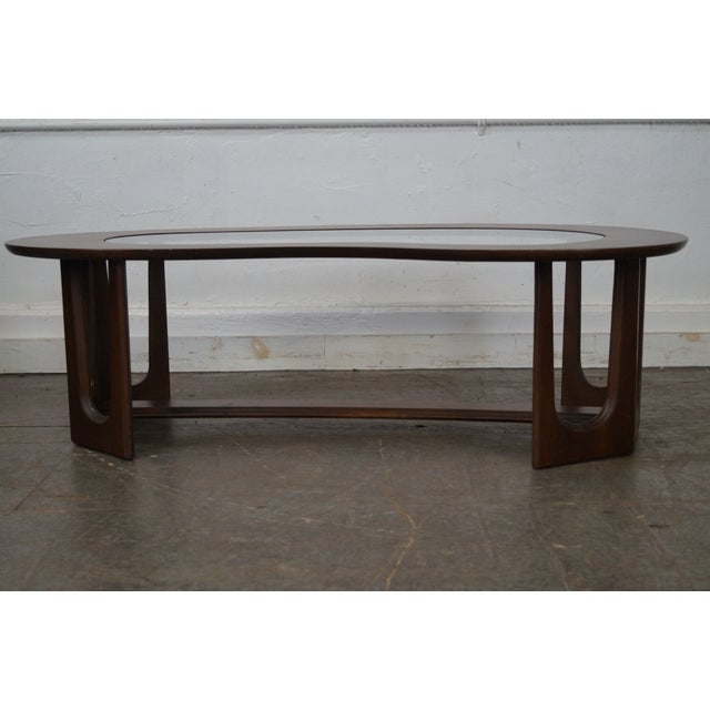 Mid-Century Boomerang Walnut & Glass Top Coffee Table - Image 4 of 10