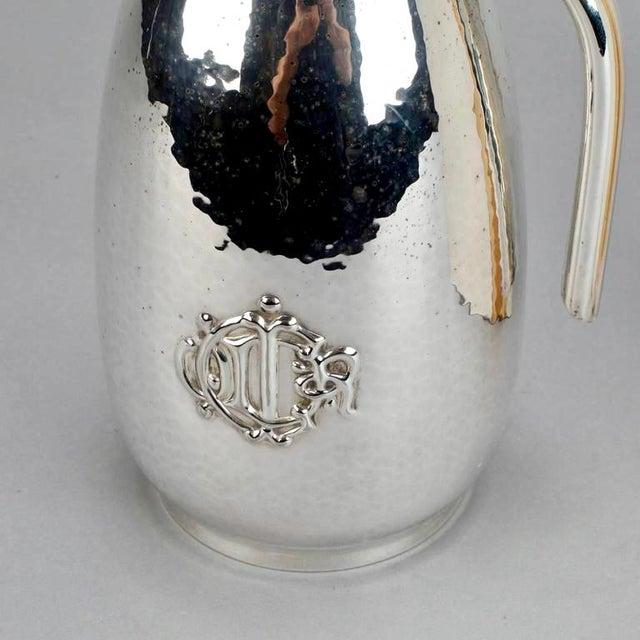 Christian Dior Hammered Silver Plate Beverage Pitcher with Original Box For Sale In Detroit - Image 6 of 8