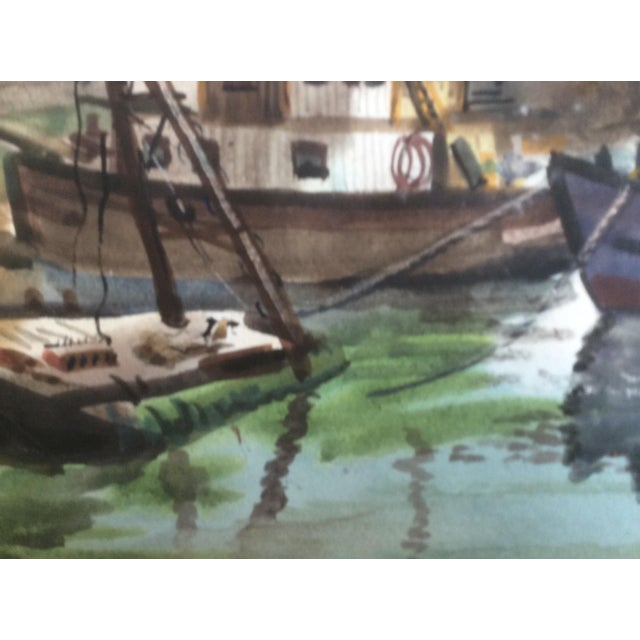 Americana Fishing Boats Watercolor For Sale - Image 3 of 11