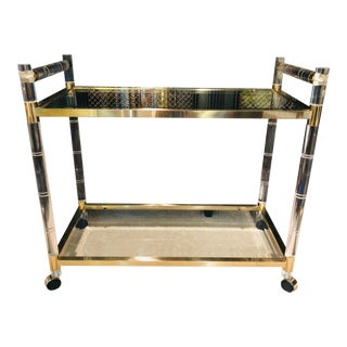 1970's Vintage Charles Hollis Jones Faux Bamboo Lucite Bar Cart For Sale