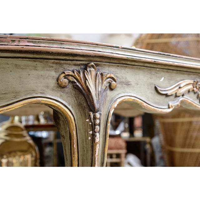 Great Antique Italian 18th c. style Painted and Gessoed Dining or Center Table with an antiqued mirrored top. To my...