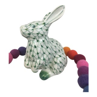 Herend Style Handpainted Green and White Fishnet Seated Rabbit Figurine For Sale