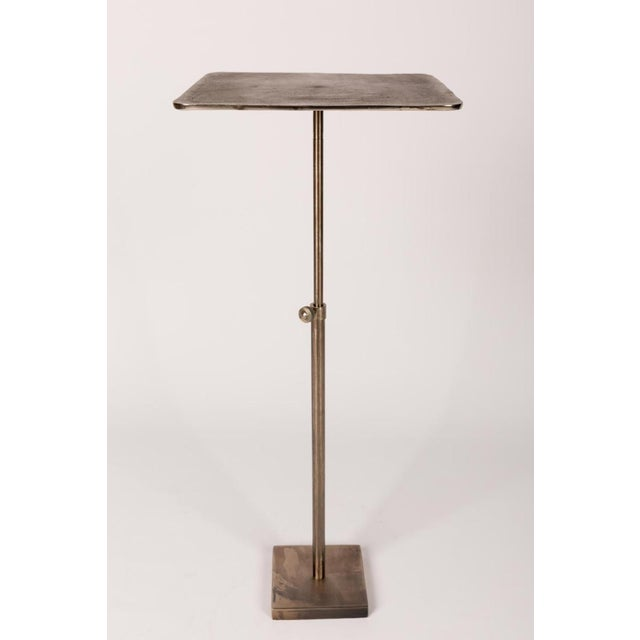 Handmade French Polished Nickel Drinks Table With Telescoping Base   12-Inch For Sale In Houston - Image 6 of 6