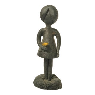 "William Lattimer of New York Mid Century Original ""Girl Holding Flowers"" Pewter and Lead Sculpture For Sale"