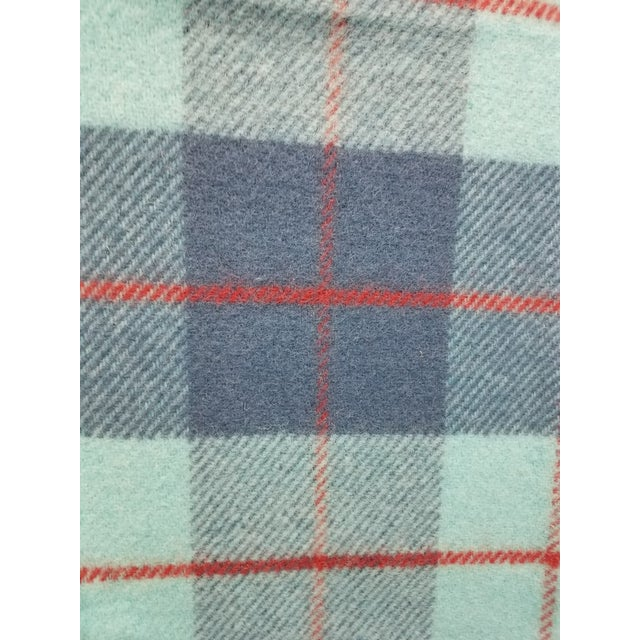 Aqua Wool Throw Blue, Aqua and Red in Different Sized Stripes - Made in England For Sale - Image 8 of 11