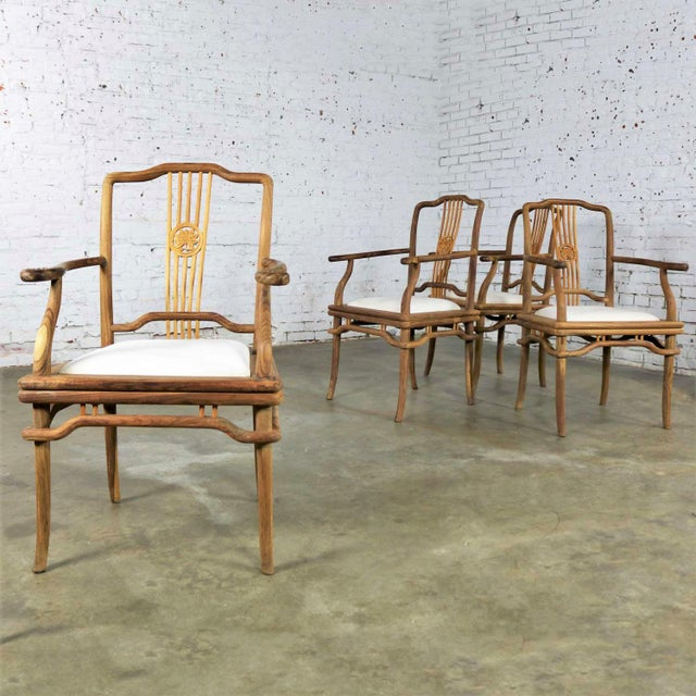 Set of Four Natural Teak Indonesian Ming Style Dining Armed Chairs With Upholstered Seats For Sale - Image 13 of 13