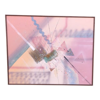 Vintage 1980s Pink and Blue Mixed Media Pastel Painting by Lee Reynolds For Sale
