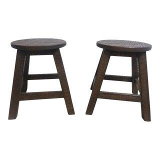 Antique Shaker Oak Milling Footstools - A Pair