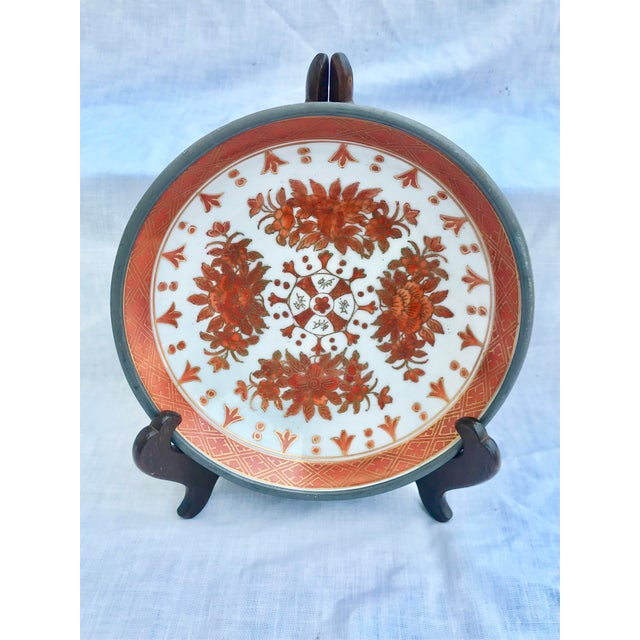 Japanese Vintage Japanese Decorative Metal and Ceramic Bowl & Stand For Sale - Image 3 of 11