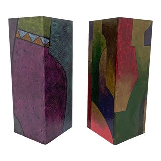 C. 1980s Postmodern Memphis Group Style Hand Painted Pedestals - a Pair For Sale