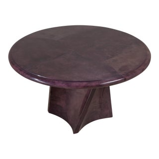 Pedestal Based Mauve Lacquered Goatskin Centre Table, 1991 For Sale