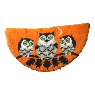 Mid Century Owl Hooked Rug - 1′11″ × 3′8″ For Sale