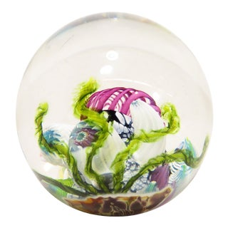 Signed Mark Eckstrand '93 Under the Sea Art Glass Paper Weight For Sale