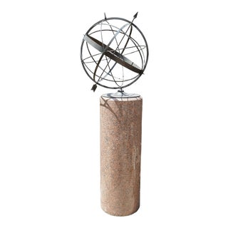 Bronze Sundial with Granite Column For Sale