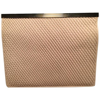 Judith Leiber Vintage Cream Pinched Leather Clutch For Sale