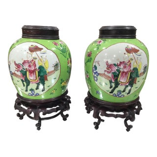 Famille Verte Ginger Jars - A Pair For Sale