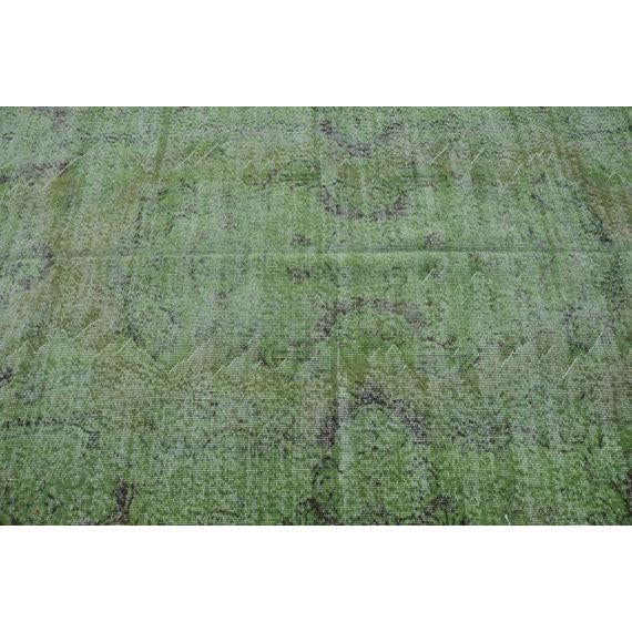 Vintage Handwoven Turkish Green Oushak Carpet - 5′4″ × 9′2″ - Image 5 of 6