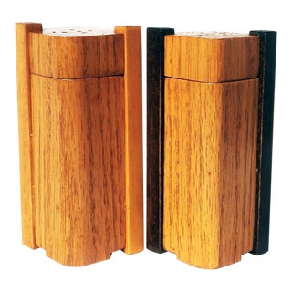 Art Deco Oak Salt & Pepper Shakers For Sale