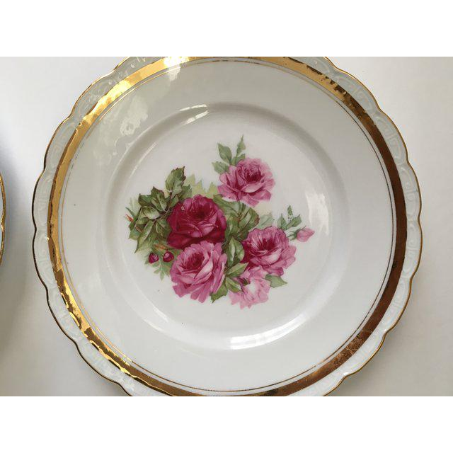 Shabby Chic Scallop Edged Rose Plates - Set of 4 For Sale - Image 3 of 6