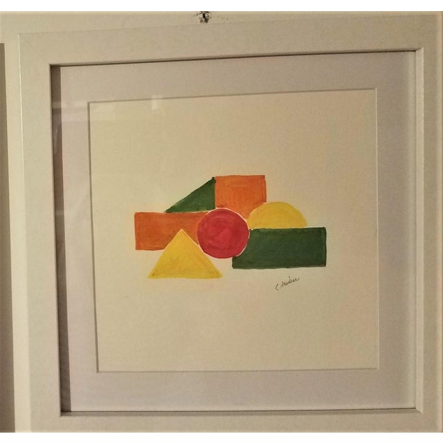 Geometric Hand Painted Framed Acrylics by Christine Frisbee - Set of 6 For Sale In New York - Image 6 of 9