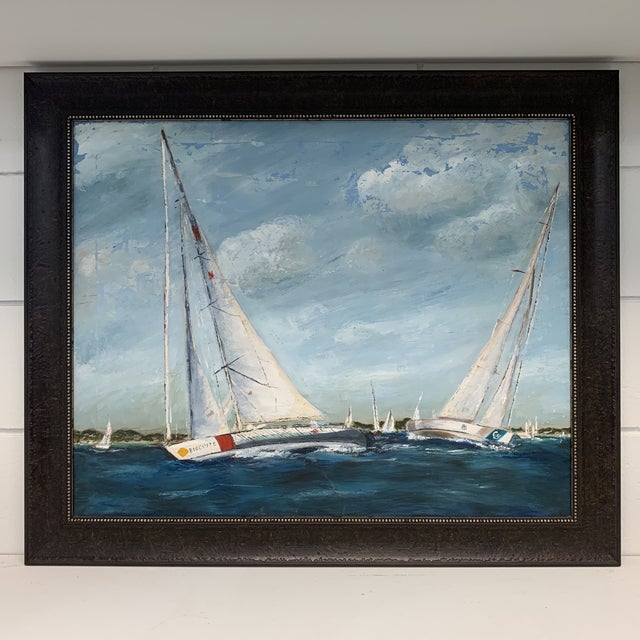 Antique Sailboat Painting Framed For Sale - Image 13 of 13