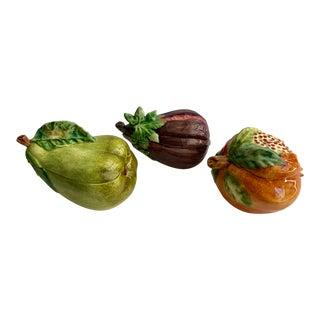 Italian Vietri Ceramic Fruits and Vegetable Bowls - Set of 3