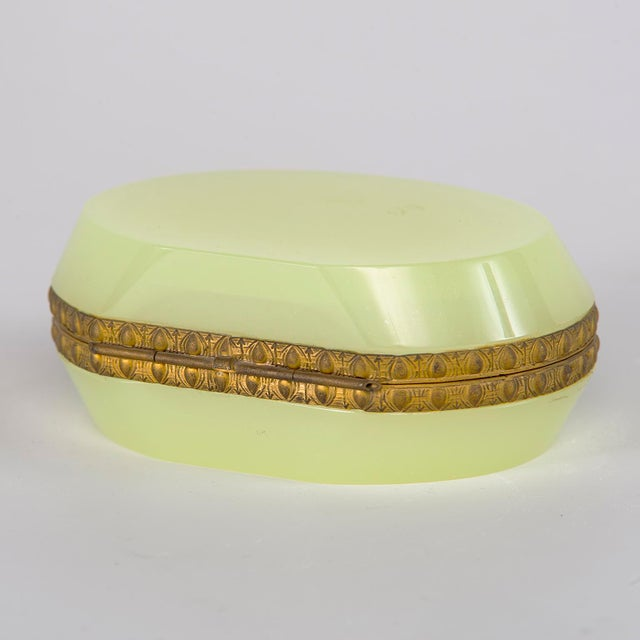 Gold French Uranium Opaline Glass and Brass Hinged Box For Sale - Image 8 of 9
