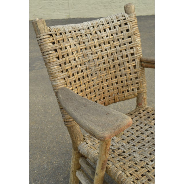 Old Hickory Antique Rustic Armchair & Rocker For Sale - Image 10 of 12
