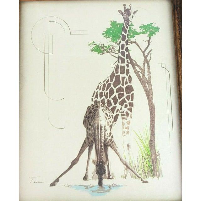 African 1970s William Tara Giraffe Print For Sale - Image 3 of 5
