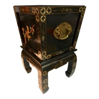 Chinoiserie Wood Planter W/ Stand For Sale